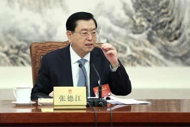 十二屆全國人大五次會議主席團常務主席第一次會議舉行 張德江主持