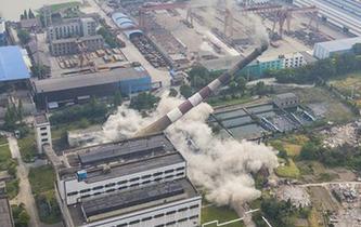 江蘇南通120米高煙囪成功爆破