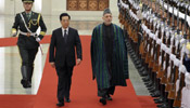 Chinese President Hu holds welcoming ceremony for Afghan counterpart