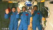 President Hu talks with astronauts aboard Tiangong-1