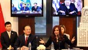 Premier Wen attends video conference with leaders of Mercosur
