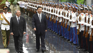 President Xi attends welcoming ceremony held by Cuban leader Raul Castro