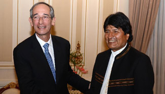Bolivian president meets with visiting former Guatemala's president