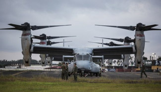 MV-22 Osprey transport aircrafts appear in Ebola area