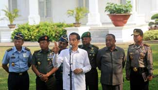 Indonesian president meets media at presidential palace in Jakarta