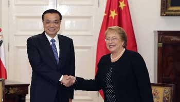 In pics: Chinese premier's Chile trip