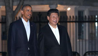 President Xi attends private dinner with Barack Obama