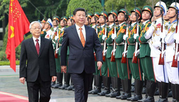 Chinese president attends welcoming ceremony held by CPV general secretary in Hanoi