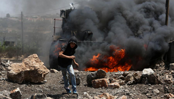 Palestinians protest against expansion of Jewish settlements near Nablus