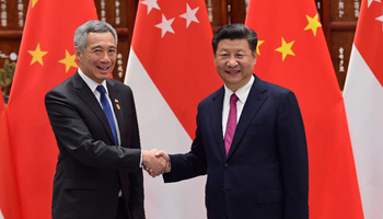 Xi meets Singaporean prime minister on bilateral ties