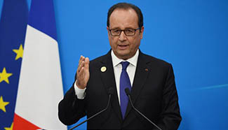 French president attends press conference at G20 Media Center