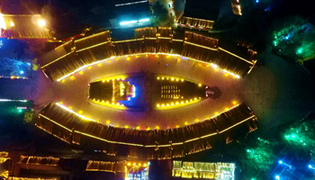 Night scene of Taierzhuang in east China's Shandong