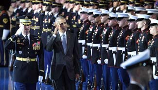 Obama attends Armed Forces Full Honor Farewell Ceremony for president