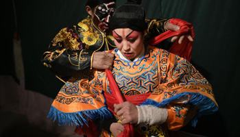 Shaanxi Opera team performs during Spring Festival holidays in NW China
