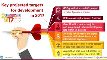 Graphics: Key projected targets for development in 2017 written in gov't work report