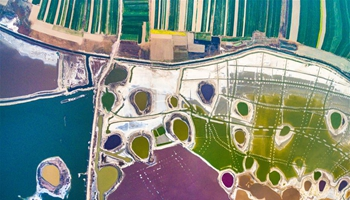 Aerial photos of colorful salt lake in N China's Shanxi