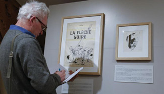 Visitors attend comic works exhibition of Belgian cartoonist Peyo
