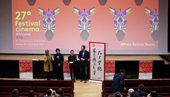 Chinese writer gives speech in Milan, Italy