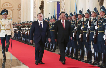 Chinese president attends welcoming ceremony hosted by Kazakh counterpart