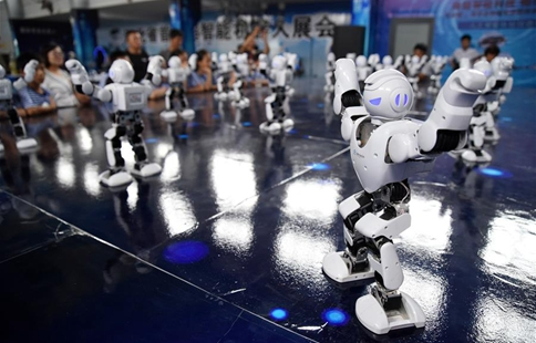 Children attracted by robots in north China's Hebei