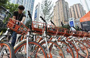 Dispatchers of shared bikes in China's Tianjin