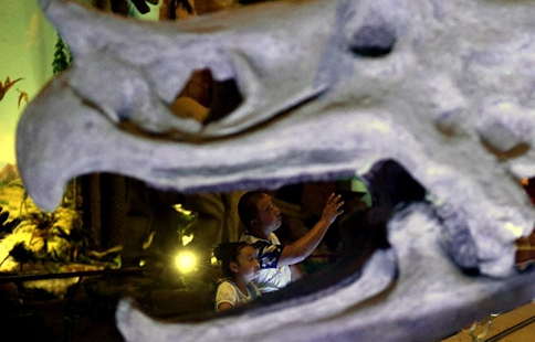 People visit Xixia Dinosaur Relics Park in C China