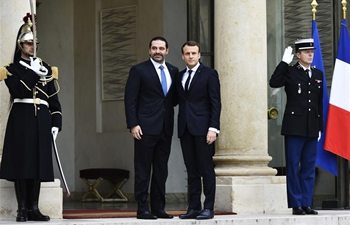 French president receives Hariri at Elysee