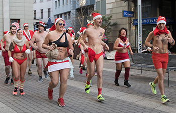 Charity event Santa Speedo Run held in Budapest
