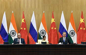 China calls for joint efforts with Russia, India to maintain int'l stability
