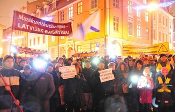 People protest against government's language plan in Riga, Latvia
