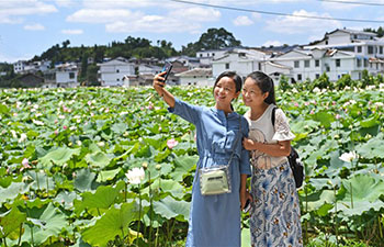 Lotus flowers attract tourists in east China's Jiangxi