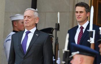 U.S. defense secretary holds welcome ceremony for British counterpart at Pentagon