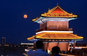 In pics: night view of Zhengding old town in N China's Hebei