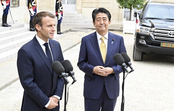 French president Macron meets with visiting Japanese PM Shinzo Abe at Elysee Palace in Paris