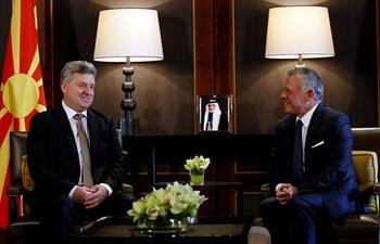 Jordan's King Abdullah II meets Macedonia's president at Royal Palace in Amman, Jordan