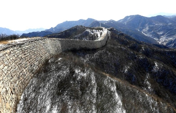 Snow-covered Yangbian section of Great Wall in Hebei