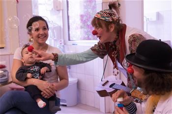 Clown doctors amuse patients in Budapest, Hungary