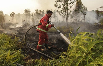 Firefighters try to extinguish fire at Tarai Bangun village in Indonesia
