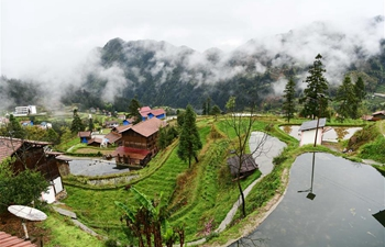 Spring scenery after rainfall in Dongzhuang Village, Guizhou