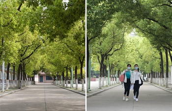 Students in their final year of 56 high and vocational schools return to campus in Xiangyang City