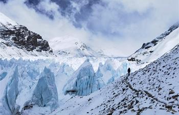 View of East Rongbuk glacier on Mount Qomolangma