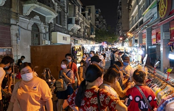People visit night market in Wuhan