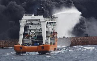 """上海海事局:""""桑吉""""輪不斷發生爆燃 搜救與污染防控工作正在緊張進行"""