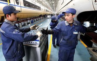 """上海:高鐵""""復興號""""備戰迎春運"""