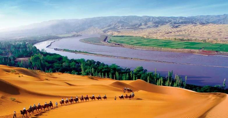 大漠,孤煙,黃河,落日景象