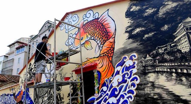 海峡论坛首届创意涂鸦大赛完成涂鸦作业