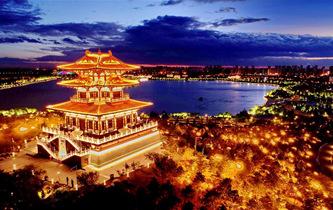 唐山南湖璀璨燈光夜