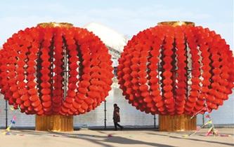 春节红灯笼小年夜点亮长安街