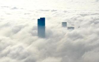 南京再起大霧 樓宇隱藏其間