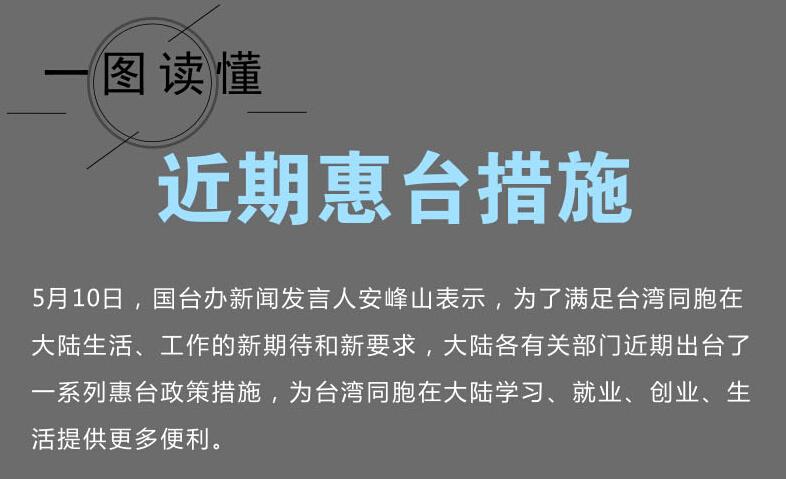 新要求,大陆各有关部门近期出台了一系列惠台政策措施,为台湾同胞